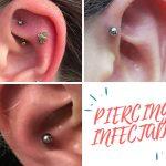 piercing de la oreja infectado