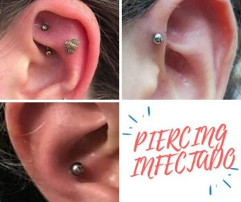 piercing de la oreja infectado